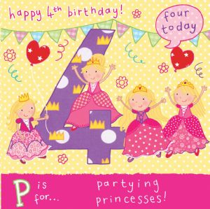 Age 4 Princess Birthday Card TW054